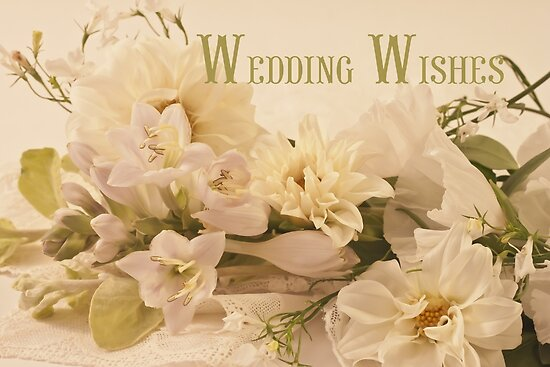 """""""wedding wishes card  white flowers """" posterssandra"""