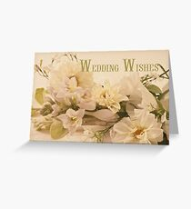 Wedding Wishes Card - White Flowers  Greeting Card