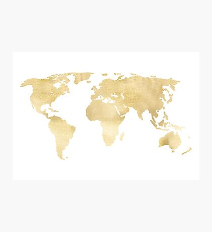 Gold World Map Photographic Print