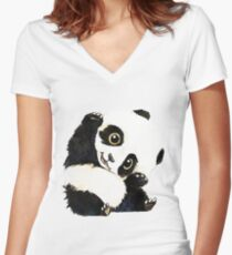panda dessin Women's Fitted V-Neck T-Shirt