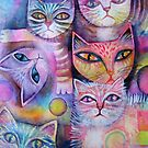 Mother cat and kittens II by Karin Zeller