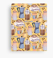 Coffee Love on Yellow Canvas Print
