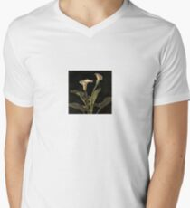White Calla Lilies On A Black Background Mens V-Neck T-Shirt