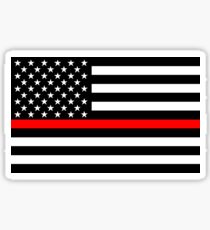 Firefighters Red Line US Flag Sticker