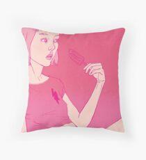 Girl eating an icecream on a hot day Throw Pillow