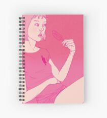 Girl eating an icecream on a hot day Spiral Notebook