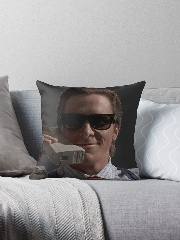 Patrick Bateman On Phone American Psycho Throw Pillows By Muwumbe