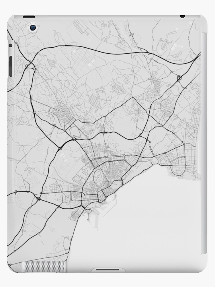Map Of Spain Showing Alicante.Alicante Spain Map Black On White Ipad Case Skin By Graphical Maps
