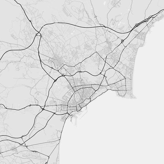 Alicante, Spain Map. (Black on white) von Graphical-Maps