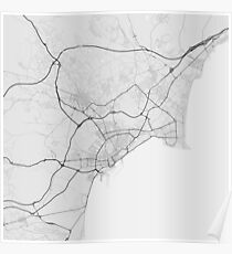 Alicante, Spain Map. (Black on white) Poster