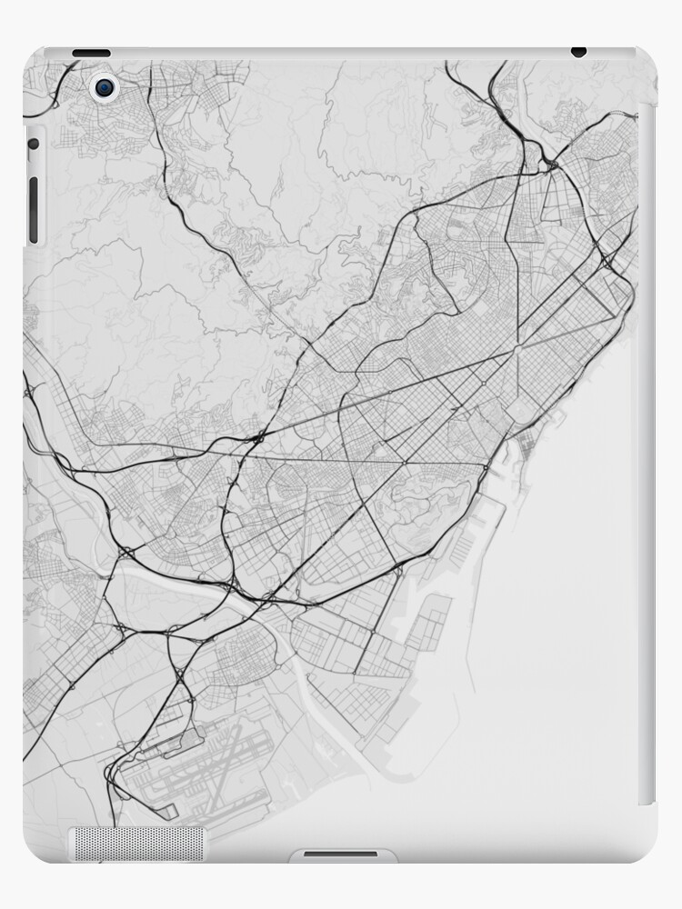 Map Of Spain To Color.Barcelona Spain Map Black On White Ipad Cases Skins By