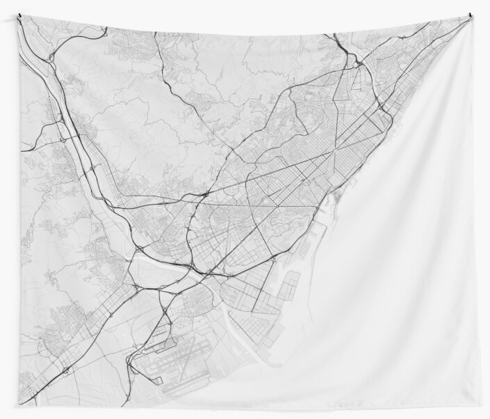Barcelona In Spain Map.Barcelona Spain Map Black On White Wall Tapestries By Graphical
