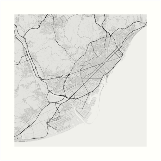 Barcelona In Spain Map.Barcelona Spain Map Black On White Art Prints By Graphical Maps