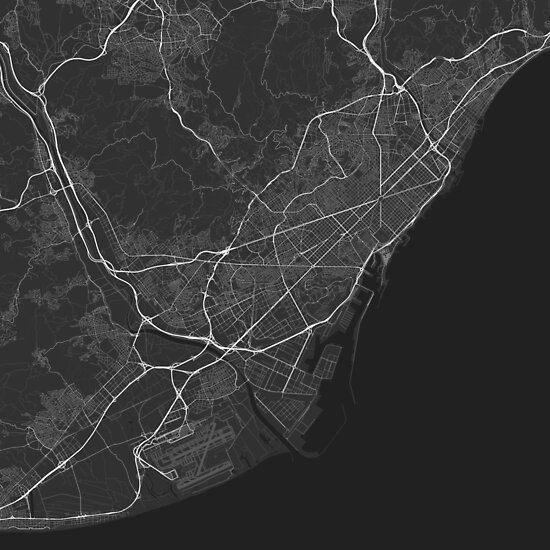 Barcelona, Spain Map. (White on black) von Graphical-Maps