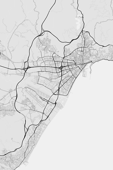 Malaga Spain Map Black On White Posters By Graphical Maps
