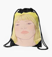 Lea- fashion illustration portrait Drawstring Bag