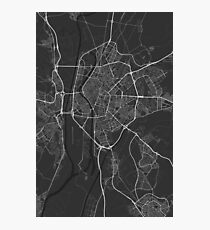 Seville, Spain Map. (White on black) Photographic Print