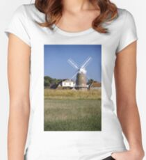 Cley Windmill and reedbeds Women's Fitted Scoop T-Shirt