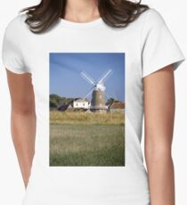 Cley Windmill and reedbeds Womens Fitted T-Shirt