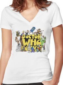 Doctor Who Rocks Women's Fitted V-Neck T-Shirt