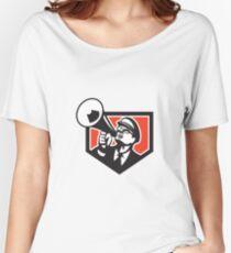 Nerd Shouting Megaphone Shield Retro Women's Relaxed Fit T-Shirt