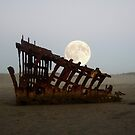 Full Moon Over the Peter Iredale Wreck by Chrissy Ferguson