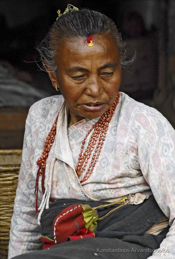 Nepali old woman by Konstantinos Arvanitopoulos