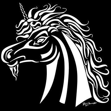 Tribal Unicorn White by JBonnetteArt