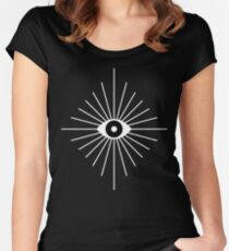 Electric Eyes - Black and White Women's Fitted Scoop T-Shirt