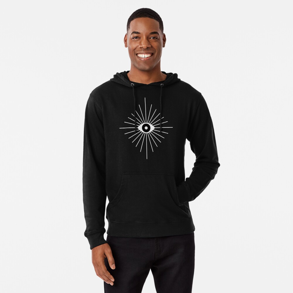 Electric Eyes - Black and White Lightweight Hoodie