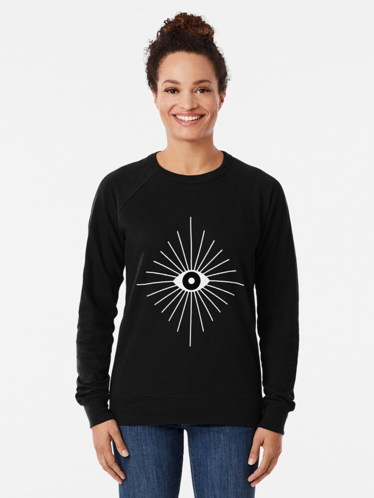 Alternate view of Electric Eyes - Black and White Lightweight Sweatshirt