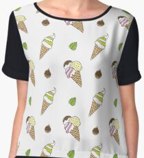 cartoon ice cream cones Women's Chiffon Top