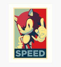 Sonic the Hedgehog -- Obama Hope Poster Parody Art Print