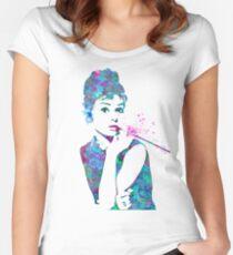 Audrey Hepburn Watercolor Pop Art  Women's Fitted Scoop T-Shirt