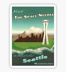 """Visit The Space Needle"" travel poster Sticker"