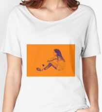 Drawing of child girl sitting and listening. Women's Relaxed Fit T-Shirt