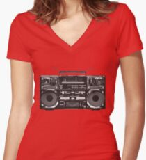 Boombox Ghetto Blaster Women's Fitted V-Neck T-Shirt