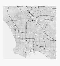 Los Angeles Usa Map Black On White Photographic Print