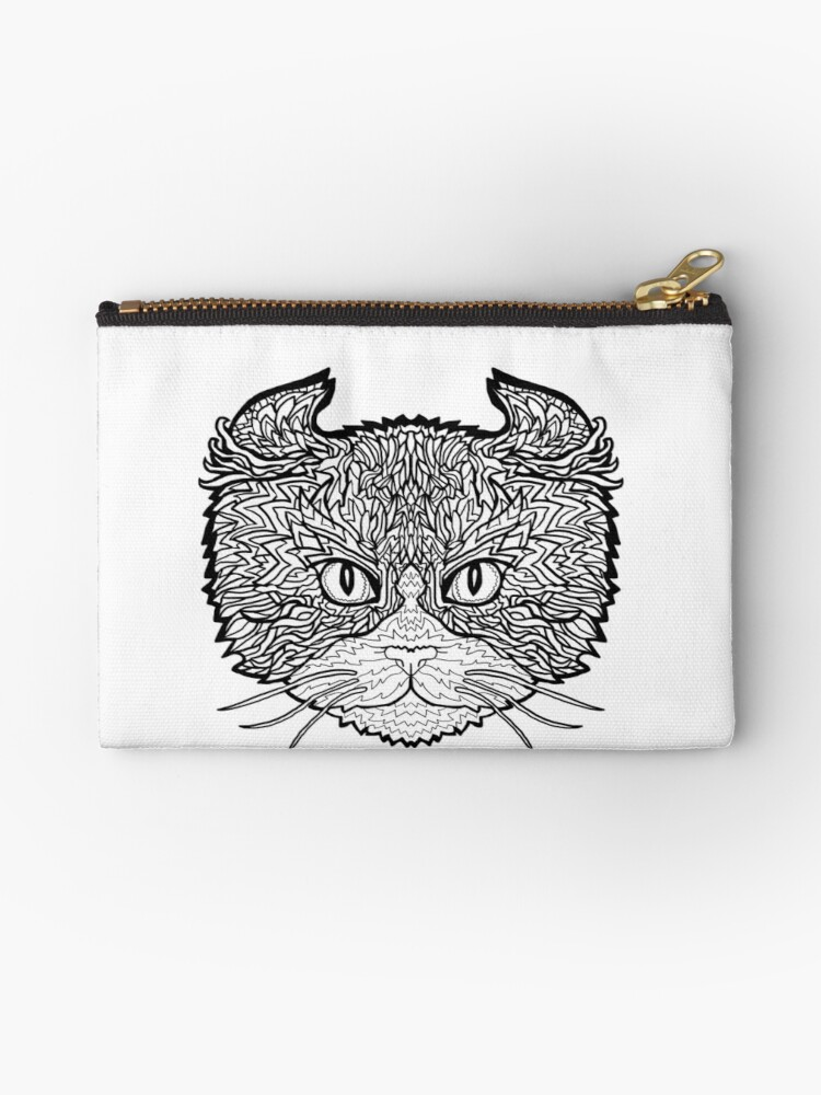 American Curl Cat Complicated Coloring Zipper Pouch By