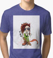 Funny rock girl cat Tri-blend T-Shirt