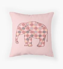 Pink, Gray and Yellow Patterned Elephant Silhouette Dekokissen