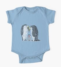 Swirly Penguin Family One Piece - Short Sleeve
