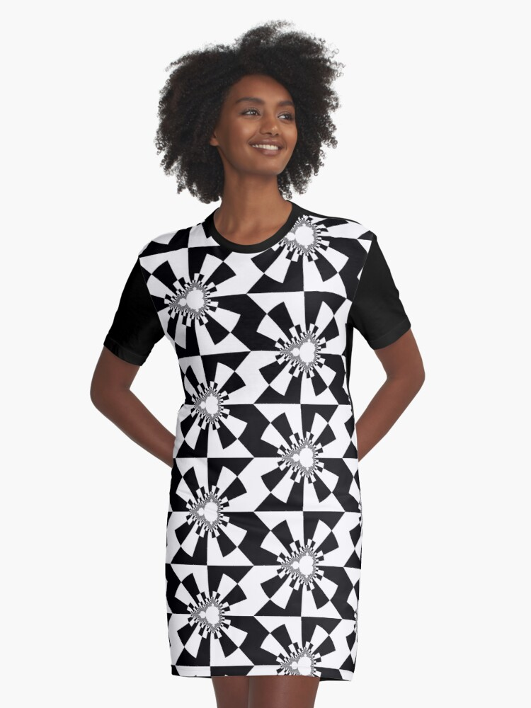 Mandelbrot XV - Black Graphic T-Shirt Dress Front