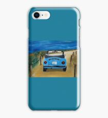 Blue VW bug at beach iPhone Case/Skin