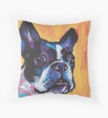 Boston Terrier Bright colorful pop dog art Throw Pillow