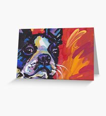 Boston Terrier Bright colorful pop dog art Greeting Card