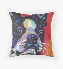 Boston Terrier Bright colorful pop dog art Throw Pillow