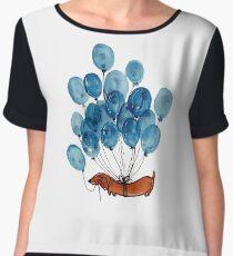 Dachshund dog and balloons Women's Chiffon Top