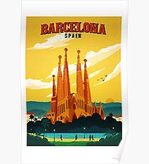 Travel Barcelona Poster