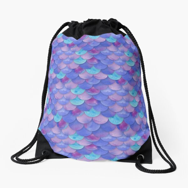Purple Mermaid Scales Drawstring Bag